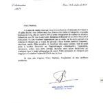 Lettre de l'Ambassadeur de France au Pérou.